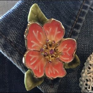 Monet Vintage Enamel Flower Brooch